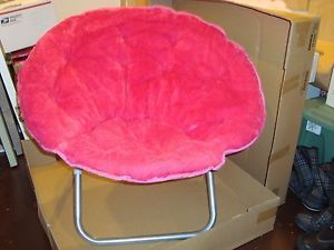 Large Pink Faux Fur Folding Fold Up Dorm Room Lounge Saucer Chair Teens Girls