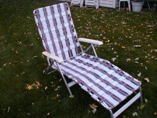 Vintage Lawn Deck Lounge Reclining Chair Web Aluminum Folding Webbed Patio Nice