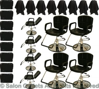 8 x Hydraulic Reclining Barber Chair Shampoo Hair Styling Salon Beauty Equipment