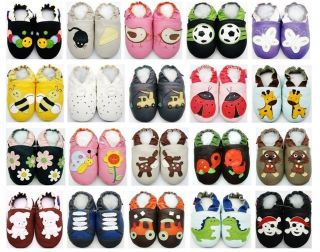 Soft Sole Leather Baby Shoes Zoo Unisex Slippers Sizes Up to 4 5 Years