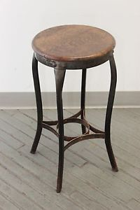 Vintage Industrial Toledo Uhl Draftsman Stool Machine Age Chair 1910s Side Table