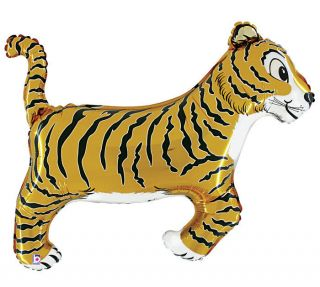 "Tiger 41"" Balloon Birthday Baby Animal Jungle Safari Zoo Roar Free Ribbon"