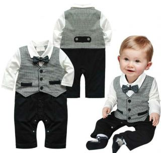 1pc Boy Baby Kids Toddler Bowknot Gentleman Romper Jumpsuit Clothes Outfit