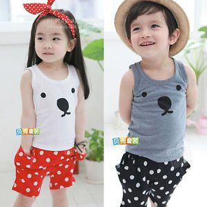 Baby Girl Boys Children Cartoon Dog Face T Shirt Polka Dots Shorts Cute Pant 1JG