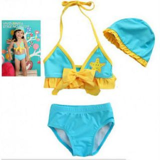 1 6 yrs Toddler Girls 3 Pcs Yellow Star Bow Bikini Swimsuit Swimwear w Cap SG902