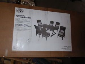 Hampton Bay Woodbury 6 Piece Patio Dining Set w Bare Cushions Chairs Only