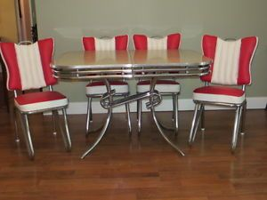 RARE Style Ready to Use 1950's Art Deco Chrome Formica Kitchen Table Chairs