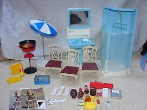 Sindy Lot Vanity Sink Shower BBQ Chairs Food Umbrella Curler Kit