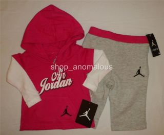 Nike Air Jordan Baby Girls Hoodie Shirt Pants Outfit Set Clothes Sz 3 6M