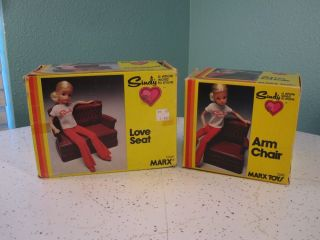 1978 Sindy Doll Arm Chair and Love Seat Set 1244 1245 Marx Toys Couch Vintage