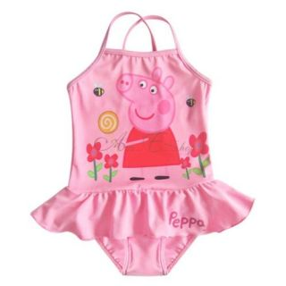 Peppa Pig Girls Kids Ruffle Swimsuit Swimwear Bathing Suit Swim Costume Sz 5 6
