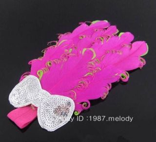 New Gift Baby Girl's Head Band Feather Flower Hairwear Headbands Hot Pink