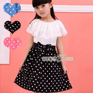 Baby Kids Children's Girls Lovely Two Tones Splicing Polka Dots Dress S0BZ