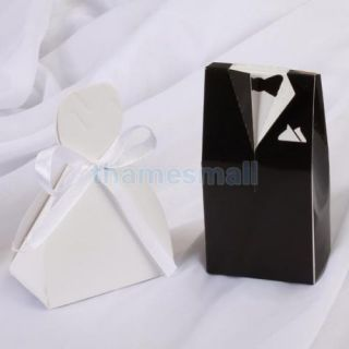 50 Pair Tuxedo Dress Gown Gift Box Wedding Favor Party Boxes Candy Supply Hot