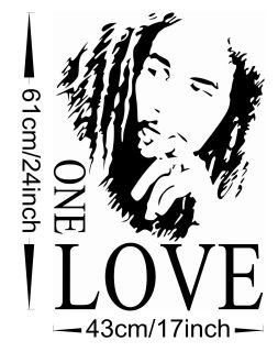DIY 43 x 61cm Bob Marley One Love Removable Wall Sticker Decal Room Home Decor
