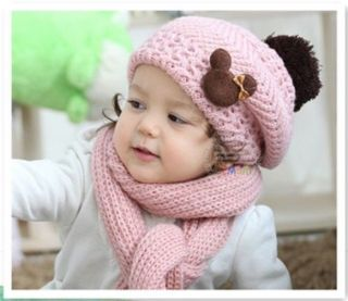 Set Christmas Korean Girl Baby Kid Toddler Warm Winter Pink Cap Scarf Hat Sets
