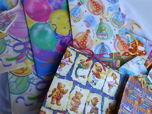 Wholesale Lot 24 Assorted Med Sz Gift Bags Happy Birthday Party Supplies Bonus