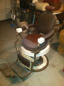 Vtg 1930 1940's Art Deco Koken Barber Chair Orig Leather Brass and Head Rest NR