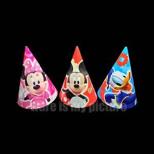 Disney Mickey Minnie Mouse Donald Duck Birthday Party Supply x6 Cone Hats M370