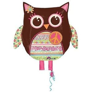 "Hippie Chick Peace Sign Owl 22"" Mylar Foil Balloon 60's Retro Birthday Party"