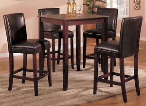 Estella Cherry Finish Wood Pub Bistro Bar Height Dining Table Set Brown Chairs