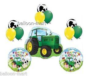 John Deere Toy Tractor Balloon Set Farm Animal Cow Happy Birthday Party Supplies