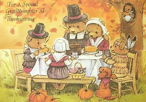 Thanksgiving Special Granddaughter Teddy Bear Pilgrim Greeting Card Pumpkin Dog