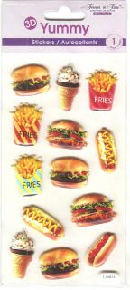 Forever in Time Yummy 3D Hamburger Hot Dog French Fries Ice Cream Stickers BNIP
