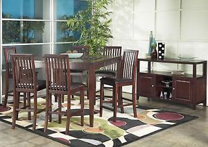 Alpine Furniture Anderson 3 Piece Set Pub Table with Butterfly Leaf 2 Pub