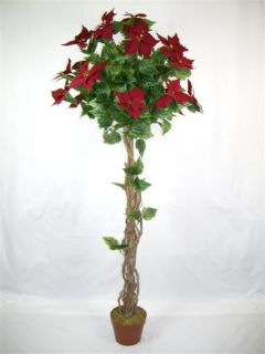 Christmas Decoration 4 75ft 145cm Red Artificial Poinsettia Topiary Tree