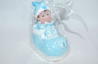 Boys Birthday Candle Baby Shower Cake Topper Baby in Shoe Blue Party Supply