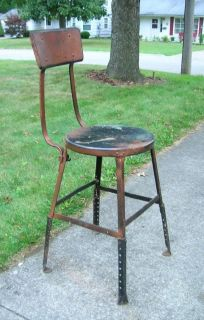 Vtg Steampunk Work Stool Chair All Metal Factory Machine Shop Industrial Age