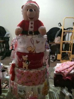 Winnie The Pooh Christmas Centerpiece Diaper Cake Baby Boy or Girl