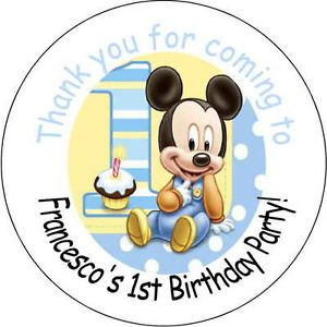 Baby Mickey Mouse Personalized Favor Stickers Personalized Birthday Party