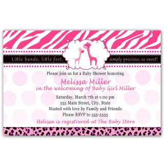 30 Personalized Hot Pink Baby Girl Shower Invitations Card Zebra Leopard Giraffe