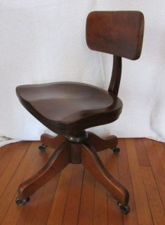 Vtg Adjustable Swivel Office Chair Drafting Stool Machine Age Maple Wood Metal