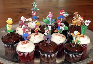 Super Mario Bros Brothers Birthday Party Cupcake Cake Toppers 24