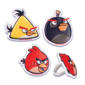 Angry Birds Cupcake Topper Party Favor Supplies Birthday Cake Animal Black Red 6