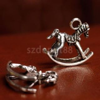10P Antique Silver Rocking Horse Charms Pendants Jewelry Findings Craft DIY 20mm