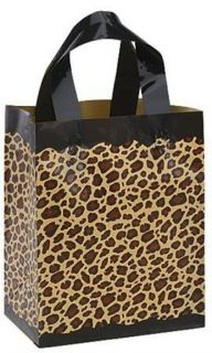 Lot of 10 Leopard Print Birthday Party Goody Bag Med Frosted Plastic Gift Bags