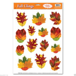 1 Sheet Thanksgiving Fall Party Decoration Window Clings Fall Autumn Leaves
