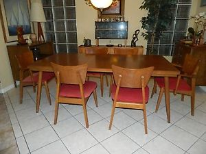 Mid Century Modern Dining Table 6 Chairs Set Danish Style Walnut Oak