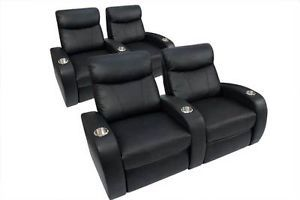 Rialto Home Theater Seating 4 Seat Black Leather Power Chairs