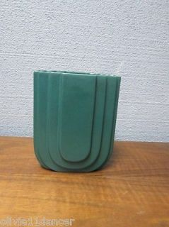 Green Art Deco Style Haeger Pottery Vase Artware Art USA Streamline Skyscrapper