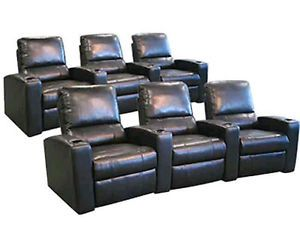 Seatcraft Adonis Home Theater Seating 6 Leather Manual Seats Black Chairs