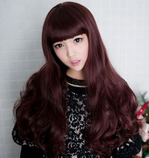 1x Sexy Fashion Party Women Girls Long Wavy Curly Hair Full Wig Wine Red Brown
