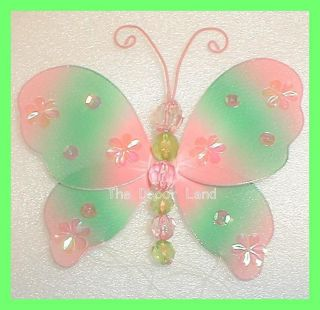 "5"" Pink Green Butterfly Hanging Girls Baby Toddler Room Decoration Two Tone"