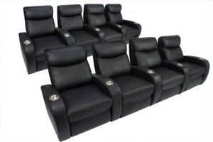 Rialto Home Theater Seating 8 Seat Black Leather Chairs