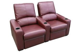 Eros Home Theater Seating 2 Burgundy Seats Push Back Recliner Chairs