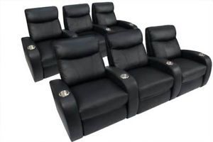 Rialto Home Theater Seating 6 Seats Black Leather Chairs